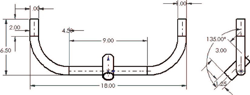 Anti-tip engineering drawing, Top and side views (units