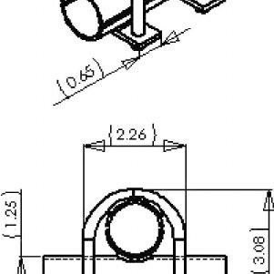 Seat bottom engineering drawing, Top (left) and skew