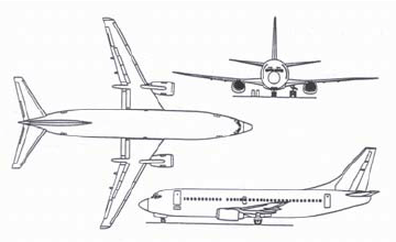 Boeing 737 airplane sketch for four main brake assemblies