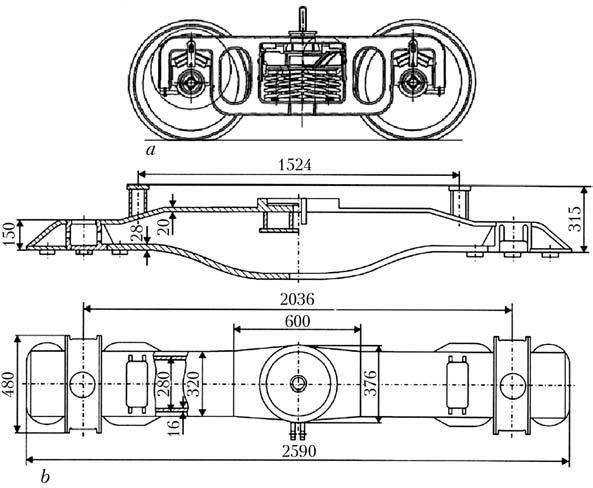 Schematics of welded structure of three-piece bogie of