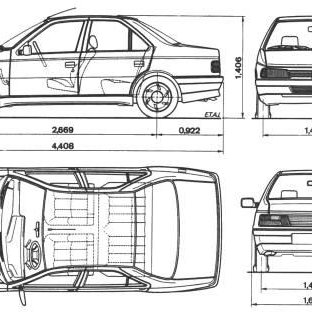 1): (a) Peugeot 405 Model (Scale 1:12) (b) Dimensions of