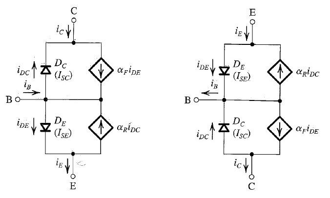 18: The Ebers-Moll (EM) model of the npn transistor (left