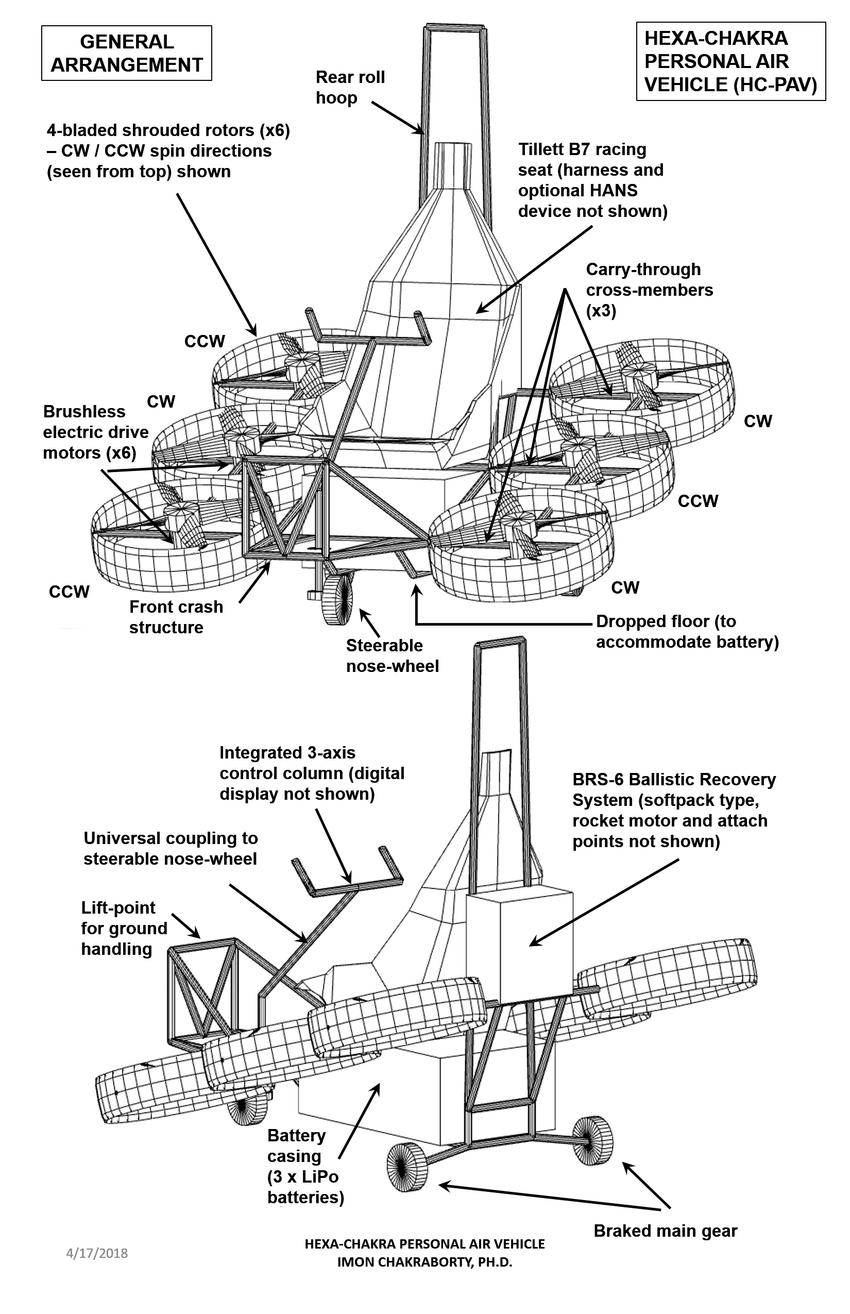 medium resolution of hexa chakra personal air vehicle general arrangement