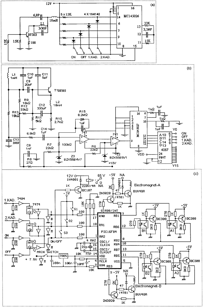 hight resolution of control card circuit diagram a radio frequency pulse code for this control circuit presented in this schematic the frequencies