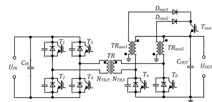 Main circuit of bi-directional current doubler rectifier