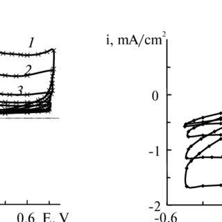 Voltammograms for electrodes: platinum (1), stainless