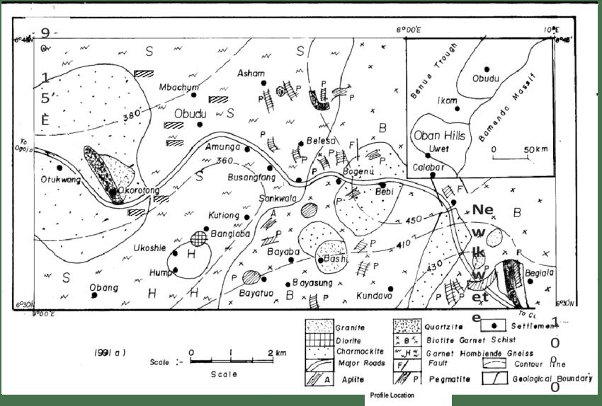 Geological Map of Obudu Plateau, S.E. Nigeria Showing