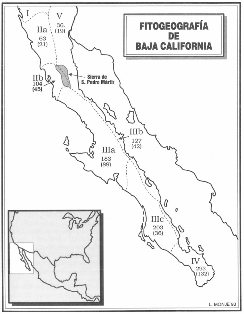 División fitogeográfica de la península de Baja California