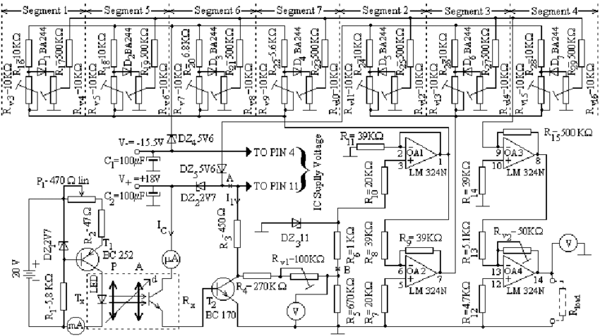 The schematic diagram of the LED-phototransistor LMEO