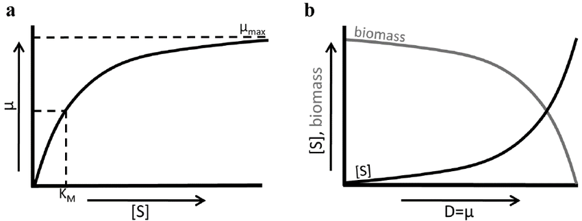 Figure 5. Jacques Monod's relation of bacterial growth ( a