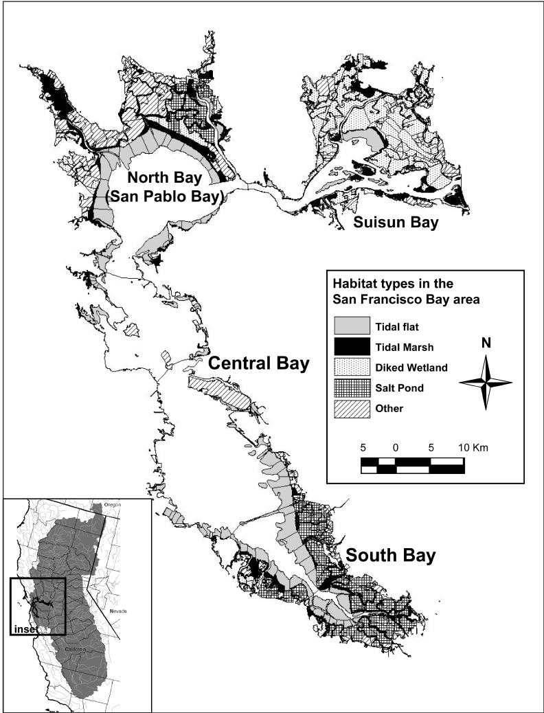 Area of California drained by the San Francisco Bay