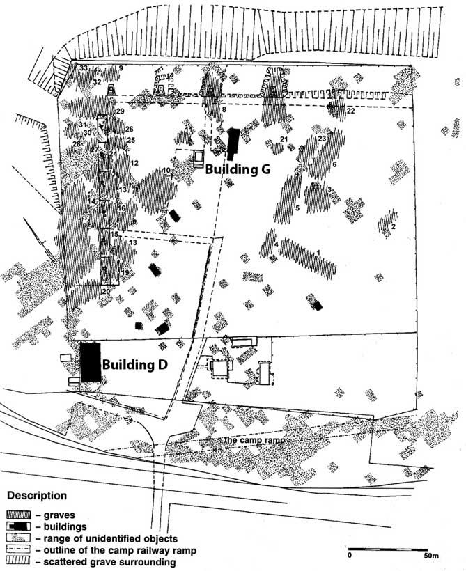 Plan of mass graves and structures at Bełżec (after Kola
