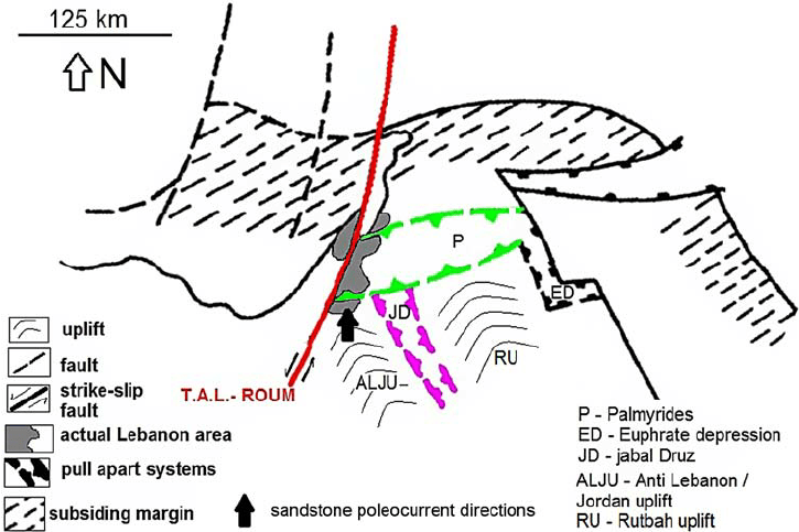 Palaeotectonic reconstruction of the geological context of