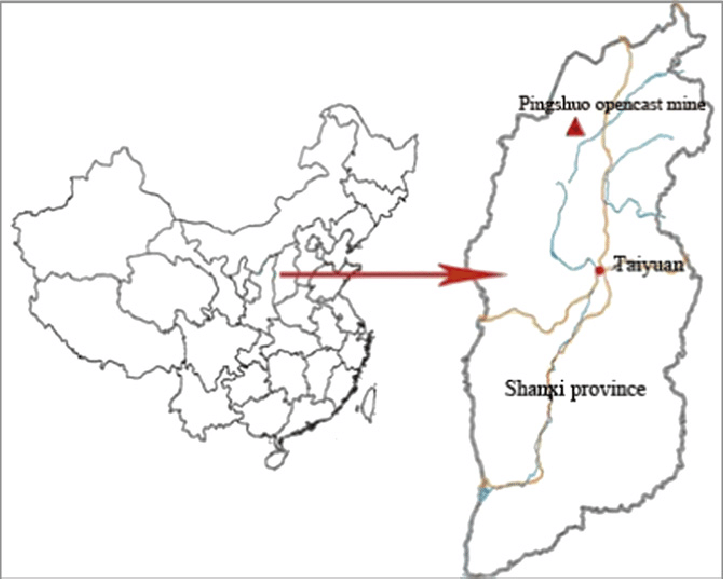 A sketch map showing geographical location of Pingshuo