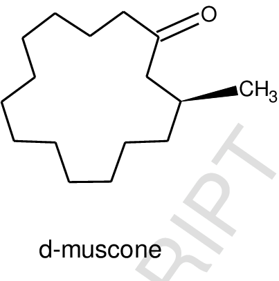 chemical structures of ℓ-muscone and d-muscone; molecular