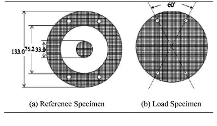Specimen dimension for reference (left) and load test