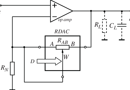 circuit diagram of non inverting amplifier 3 wire thermostat wiring heat only a using rdac potentiometer in negative feedback