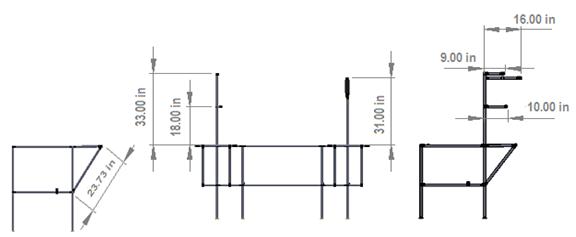 Dimensiones para la localización de los accesorios y tubo