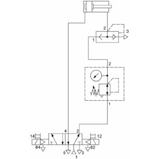 Pneumatic circuit with pressure regulator and quick