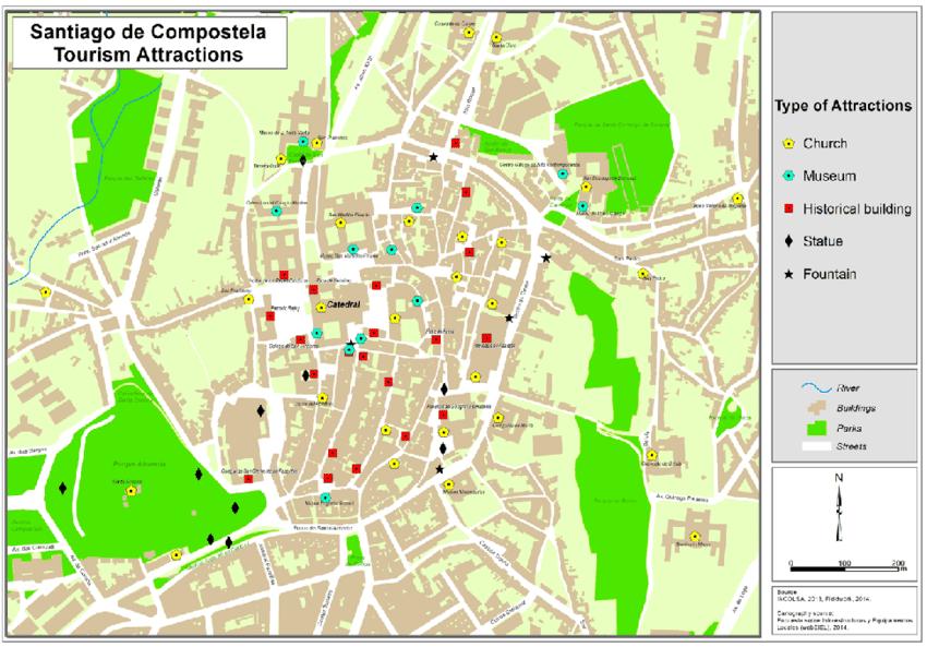 Map of tourist attractions of Santiago de Compostela