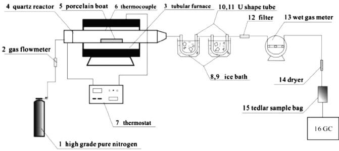Schematic diagram of tubular furnace pyrolysis system