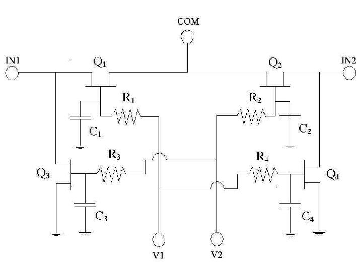 Schematic of the AlGaN/GaN HEMT MMIC SPDT switch