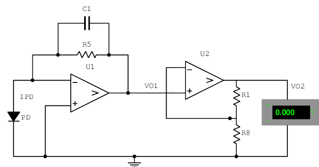 Schematic diagram of the two-stage amplifier circuit for