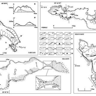 The Falkland Archipelago, map of the main morphological
