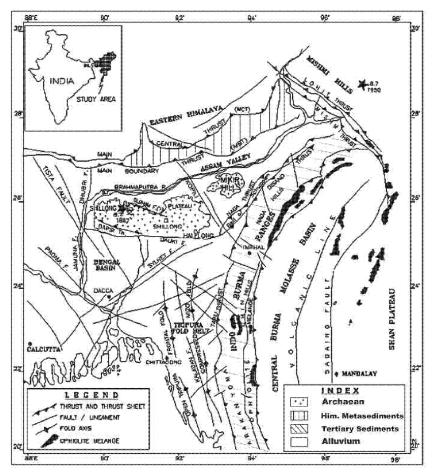 Map showing major tectonic features and epicentres (solid