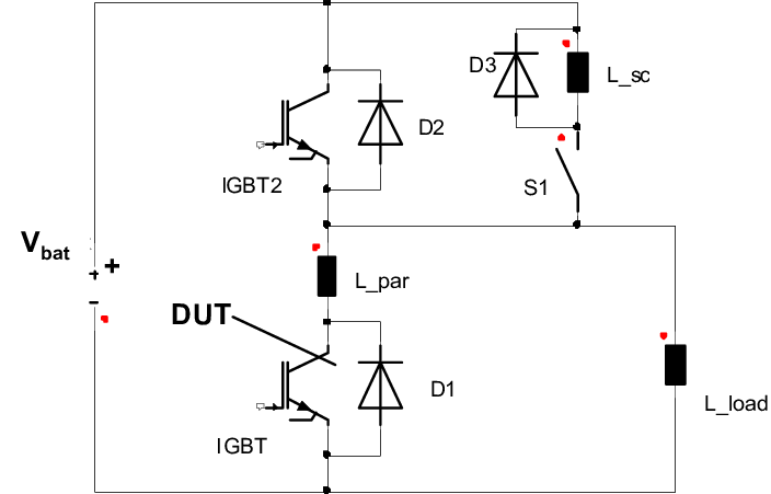 Short circuit test setup For a test of SC I, the DUT is