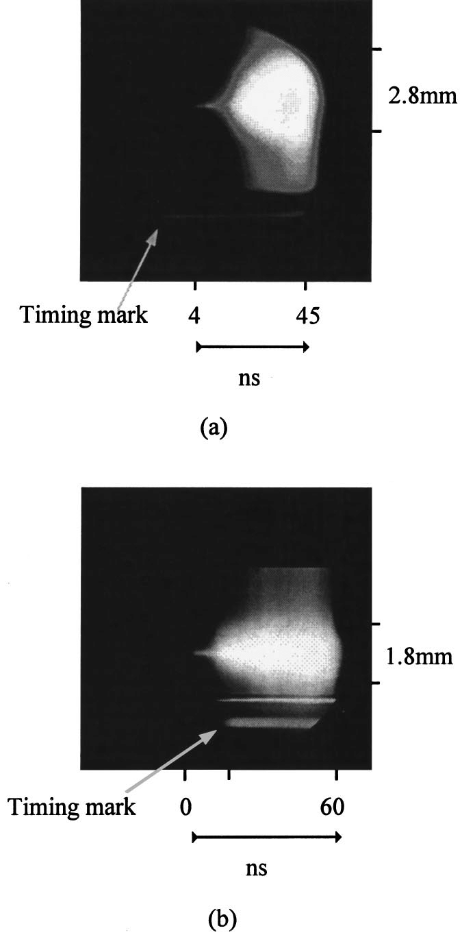 hight resolution of optical radial streak photographs for a 5 m and b 13 m tungsten wires at 160