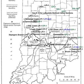 Generalized map of glacial deposits in Ohio River Valley