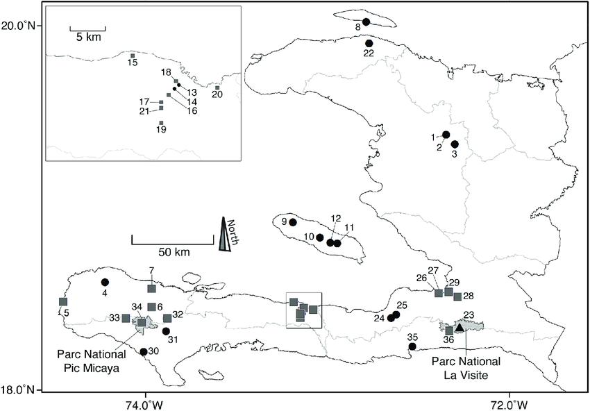 Map of Haiti indicating localities of living bat species