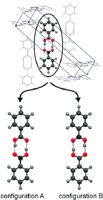 Molecular packing in the crystal structure of benzoic acid