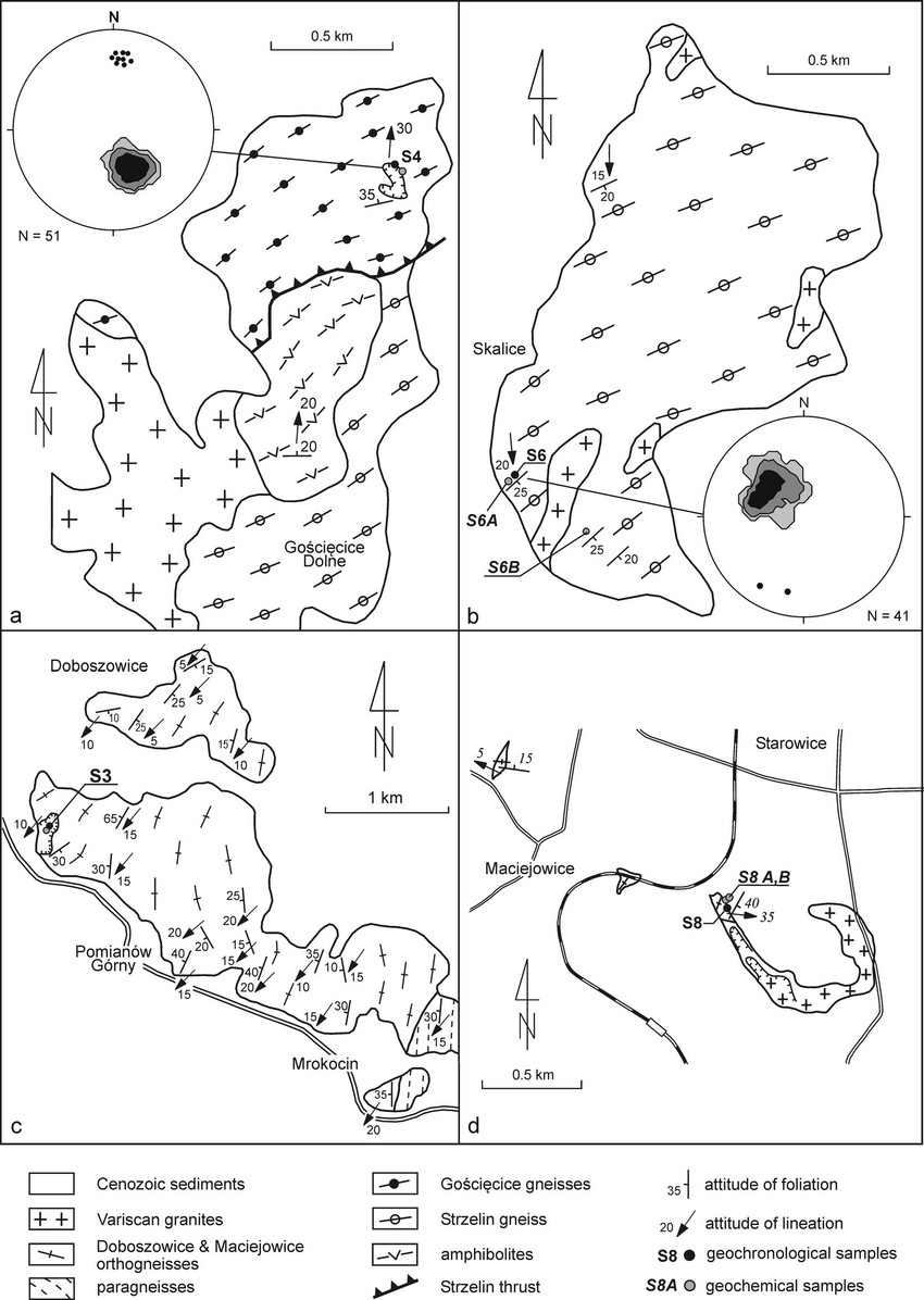 Geological sketch maps of selected parts of the eastern