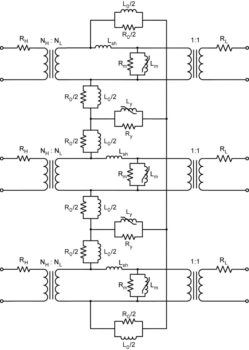 hight resolution of equivalent circuit of a three legged transformer