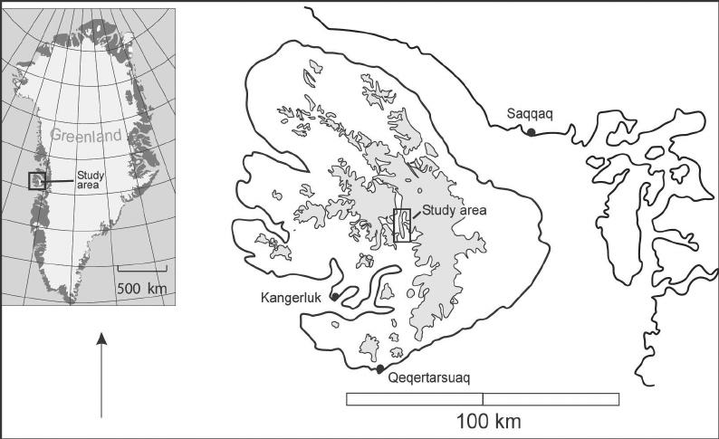 Location map of Kuannersuit Glacier on Disko Island