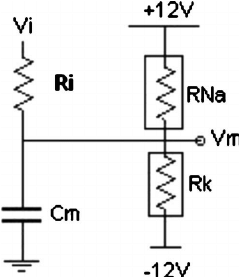 Schematics for the electronic neuron circuit. V m