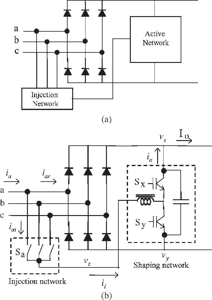 Proposed rectifier. (a) Block diagram. (b) Circuit