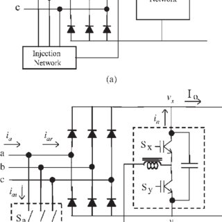 Three-phase rectifier with an extra converter. (a) Block