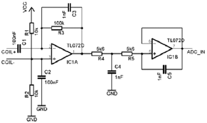 Schematic of transimpedace amplifier with low-pass filters