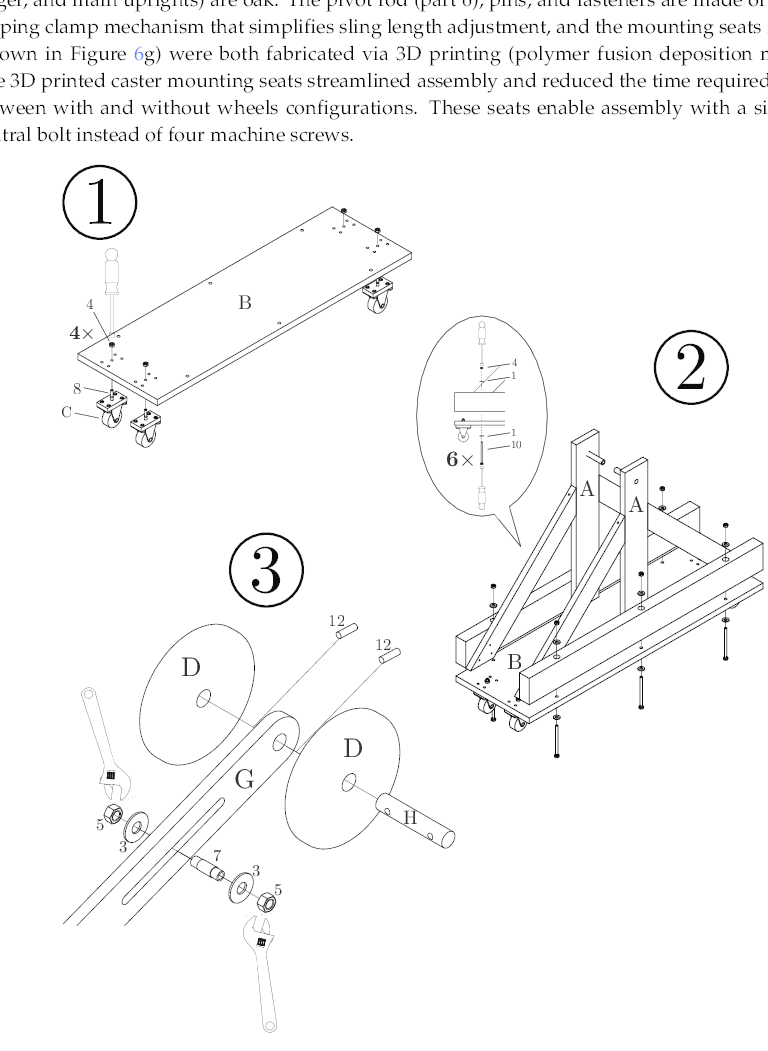 Drawings illustrating steps 1–3 in the assembly
