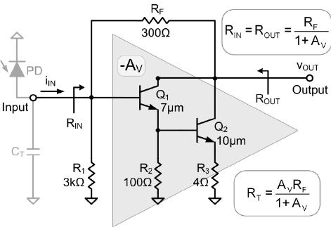 Circuit schematic of the Darlington feedback amplifier
