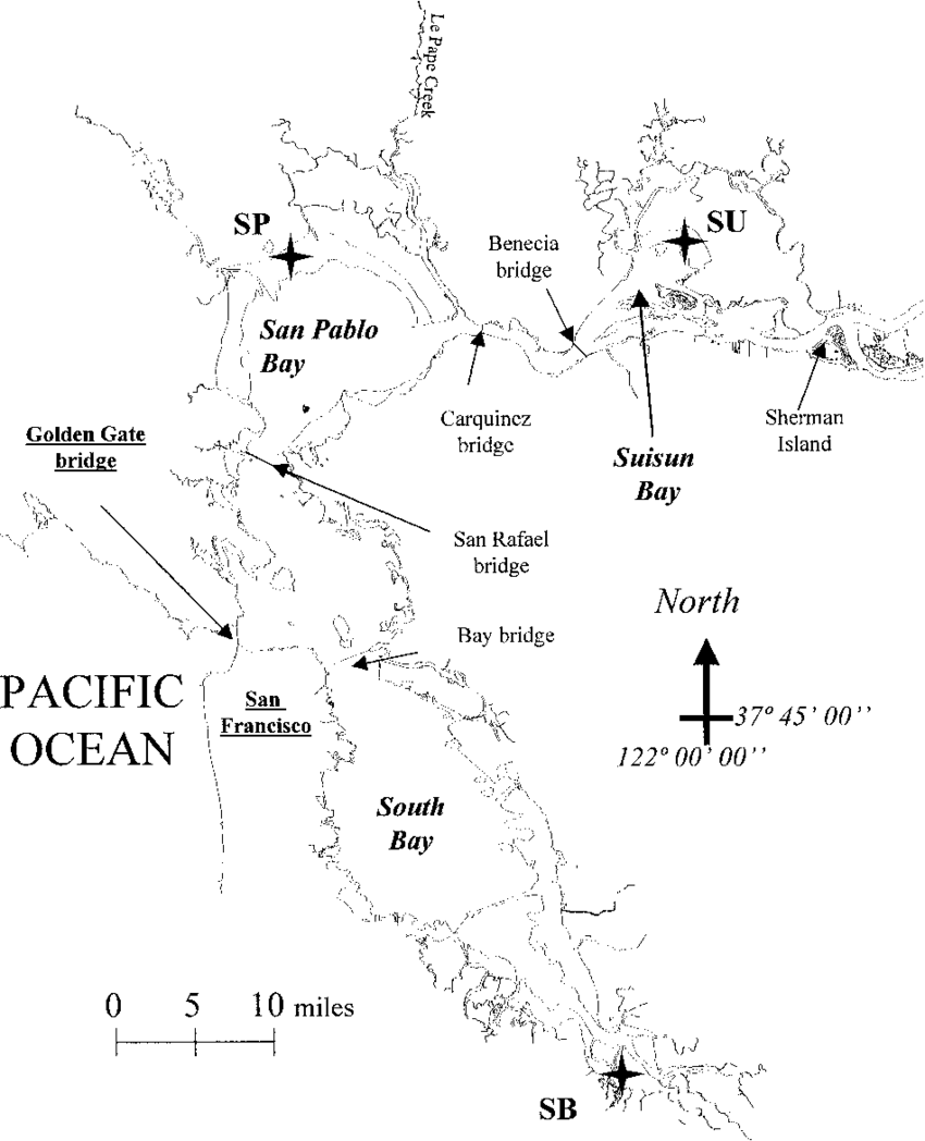 medium resolution of location of the 3 primary embayments of the san francisco bay estuary download scientific diagram