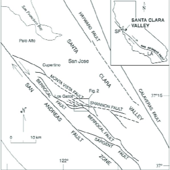 The northern San Andreas fault system, showing major
