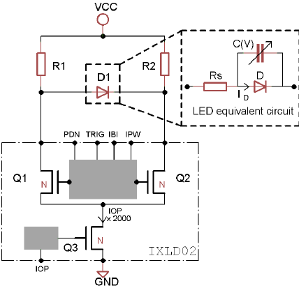 The LED driver circuit based on the IXLDO2SI commercial