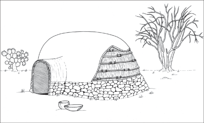 10. Artist's reconstruction of the small, round pithouse