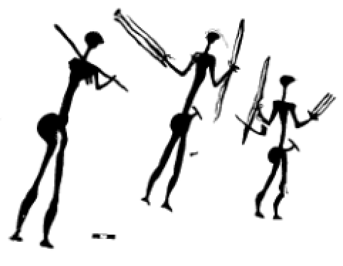 Human figures holding arrows. Note the white dots