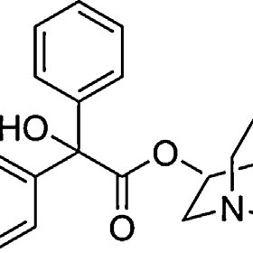 Chemical structure of 3-quinuclidinyl benzilate (QNB