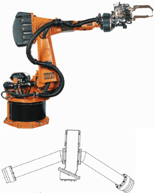 small resolution of top kuka kr150 industrial robot with spot welding tool bottom cali